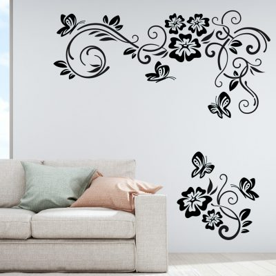 Flower Butterfly Wall plate light switch Wall Sticker Vinyl Decal home decor art
