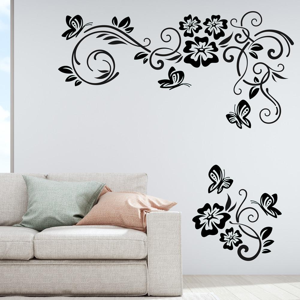 Flower butterfly wall plate light switch wall sticker vinyl decal home decor art