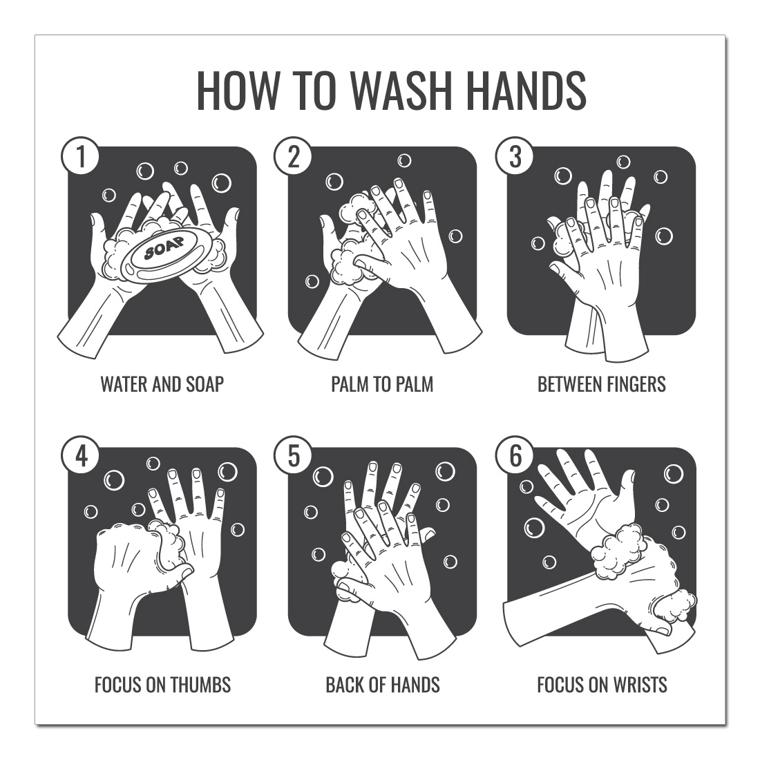 how to wash hands poster sticker