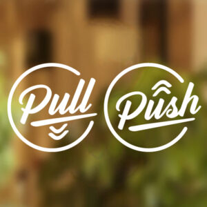 pull push door shop stickers