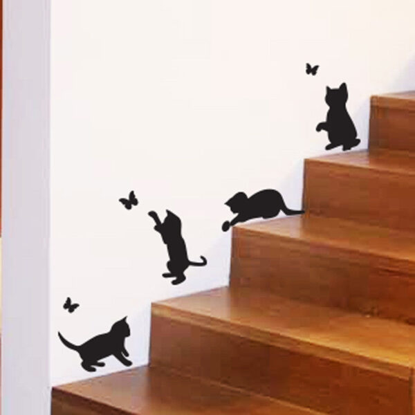 Cats-Catching-butterflies-playing-home-Vinyl-Wall-Sticker-Decor-Decal-Mural-Pet-253682968020