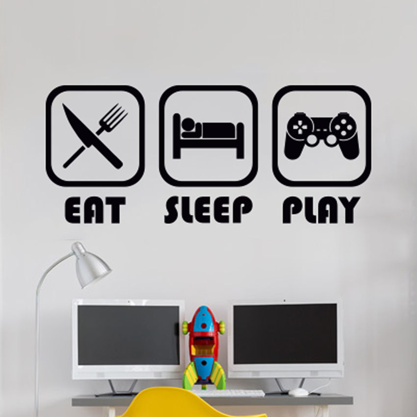 Eat Sleep Play Wall Sticker Mural Vinyl Decal Children room gamers ...