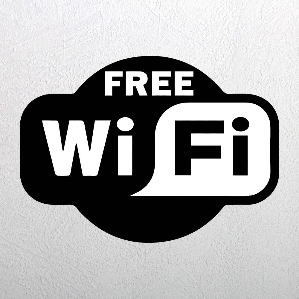 Free wifi sticker window sign vinyl decal cafe