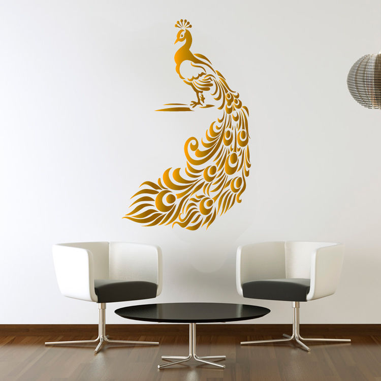 peacock golden wall sticker birds decal art livingroom vinyl mural