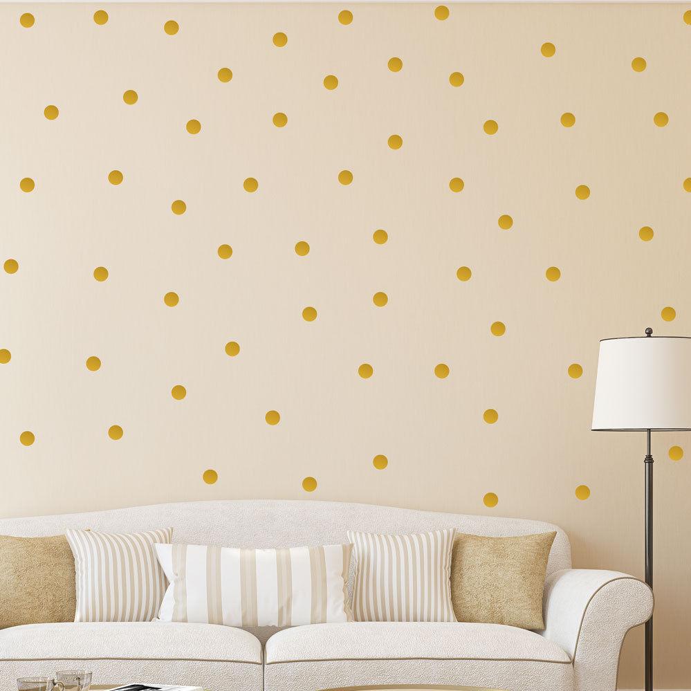 Polka Dot Wall Stickers Gold Decal Kid Vinyl Art home Decor spots ...