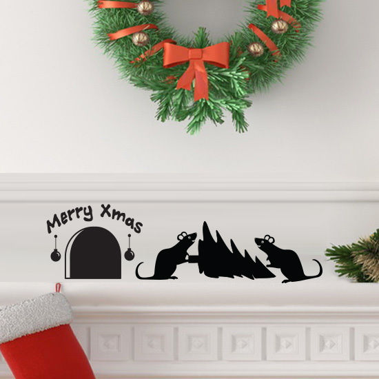 Christmas-Tree-Mouse-hole-Wall-Art-Vinyl-Decal-Sticker-Mural-Party-decoration-252613901801