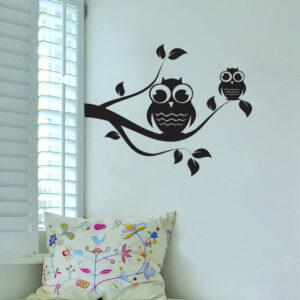Owl-on-Tree-Wall-Vinyl-Sticker-Decal-Livingroom-Children-Mural-Art-Nursery-Hall-252087540871