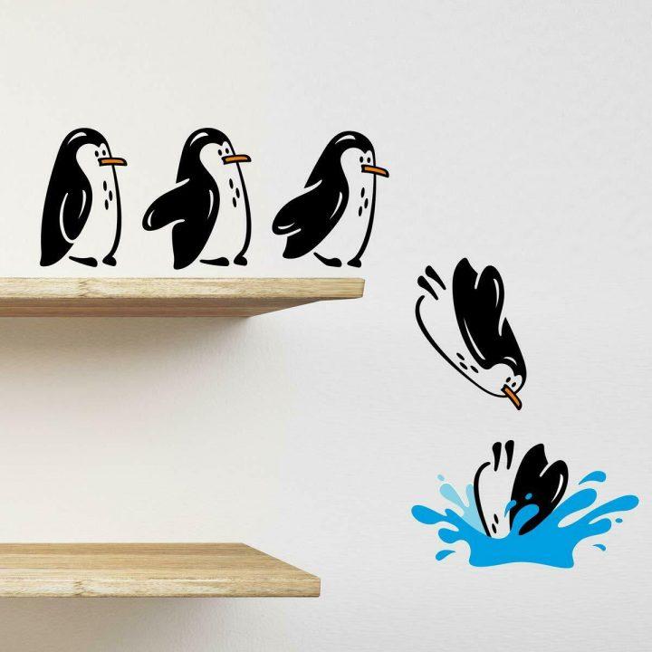 Penguins-fridge-shelf-sticker-jumping-flying-funny-Vinyl-Wall-Sticker-Decor-264388762541