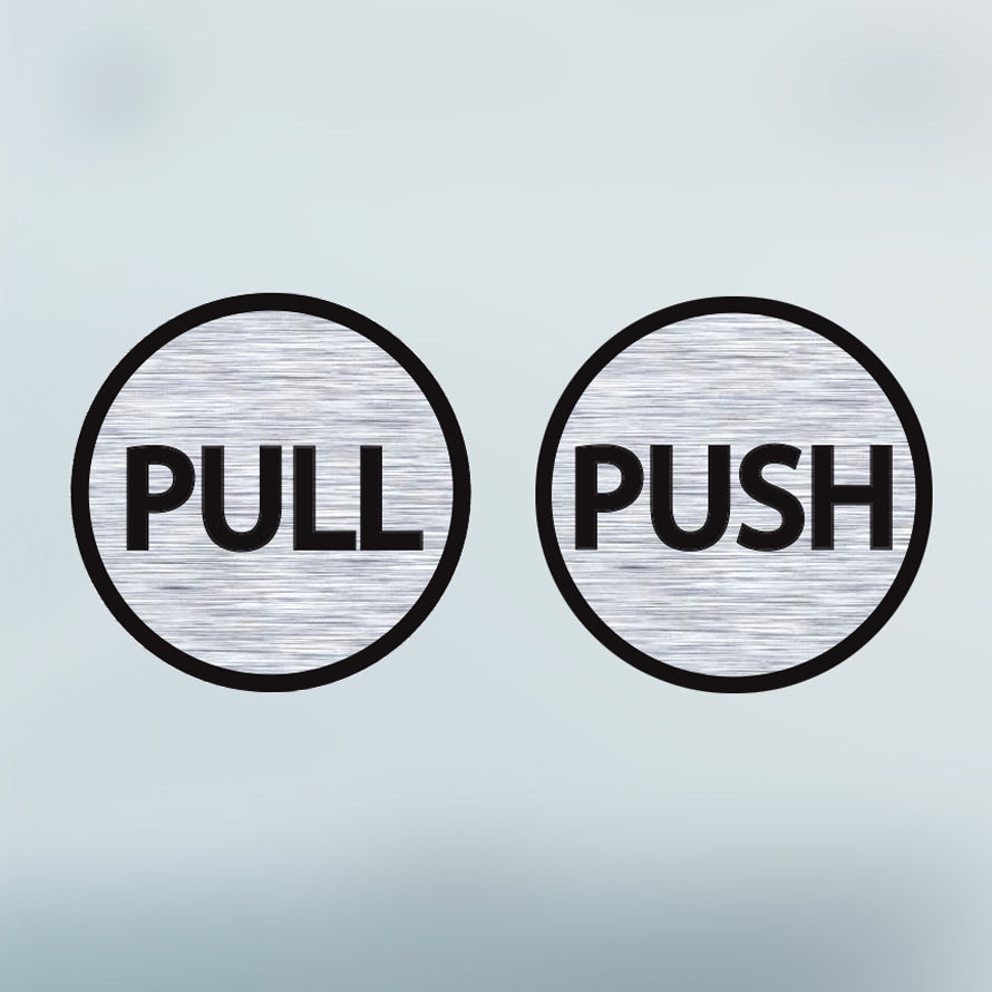 Pull Push Door Stickers Circle And Signs
