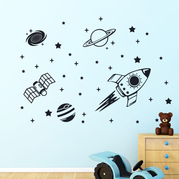 Rocket-Outer-Space-Ship-Vinyl-Wall-Sticker-Decor-Decal-Mural-Kids-Children-room-253031232841