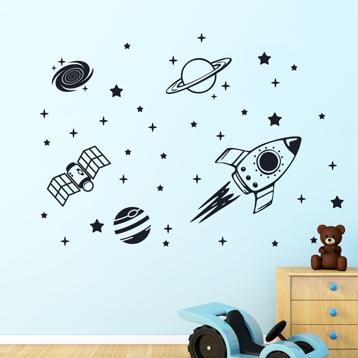 Rocket outer space ship vinyl wall sticker decor decal for Outer space vinyl wall decals