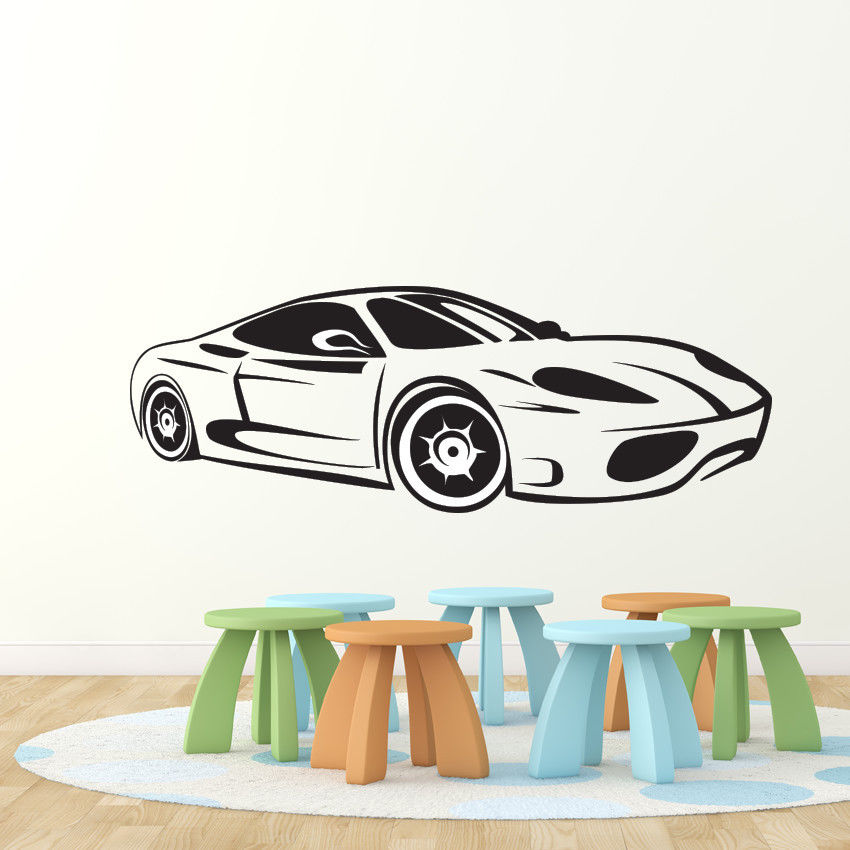 Sport car race speed wall decal nursery vinyl sticker for Cars wall mural sticker