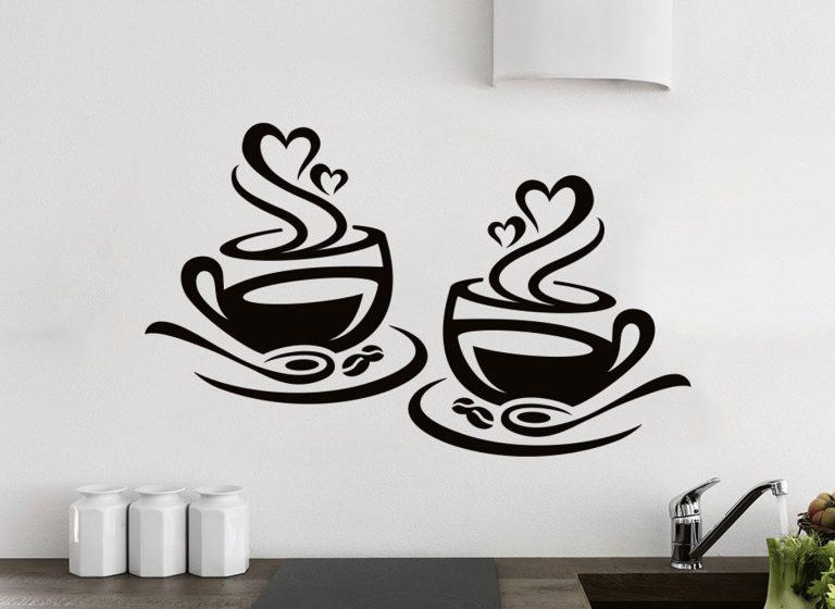 2-Coffee-Cups-Kitchen-Wall-Tea-Sticker-Vinyl-Decor-Art-Restaurant-Pub-Decal-Love-253530643092