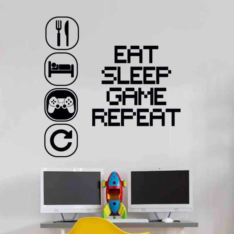 Eat-Sleep-Play-Wall-Sticker-Mural-Vinyl-Decal-Children-room-gamers-art-teenager-252930970862