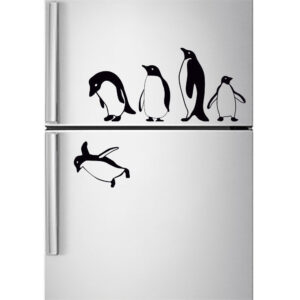 Penguins-fridge-stickers-jumping-flying-funny-Vinyl-Decor-Decal-Mural-KItchen-263291802152
