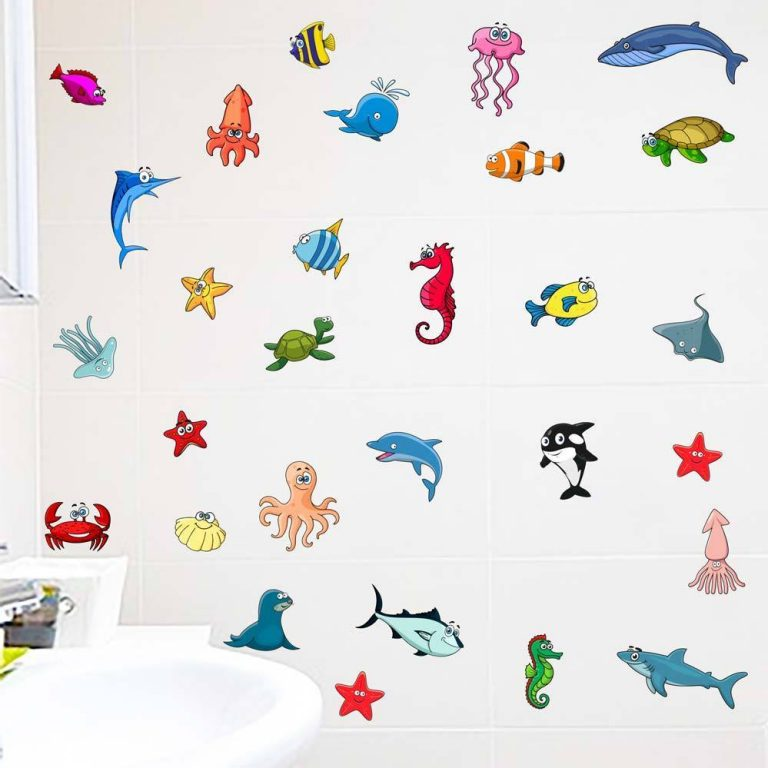 Sealife-Fishes-Bathroom-Wall-Stickers-Kids-Decals-Cartoon-Octopus-Games-34pcs-253067863802