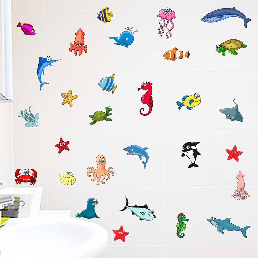 kids bathroom stickers sealife fishes bathroom wall stickers decals 13349