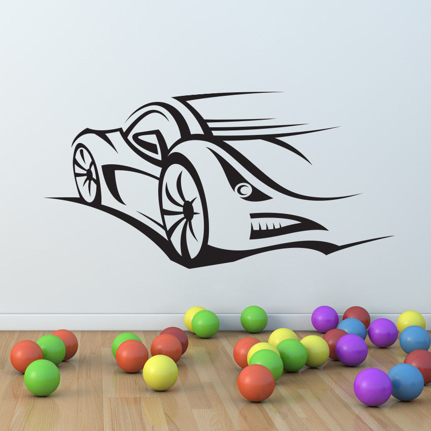 Sport car race speed wall decal nursery vinyl sticker for Mural alternatywy 4
