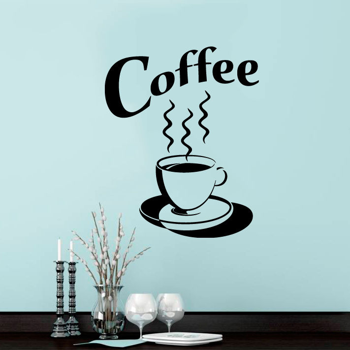 coffee cup wall sticker tea kitchen retro vinyl decal art restaurant
