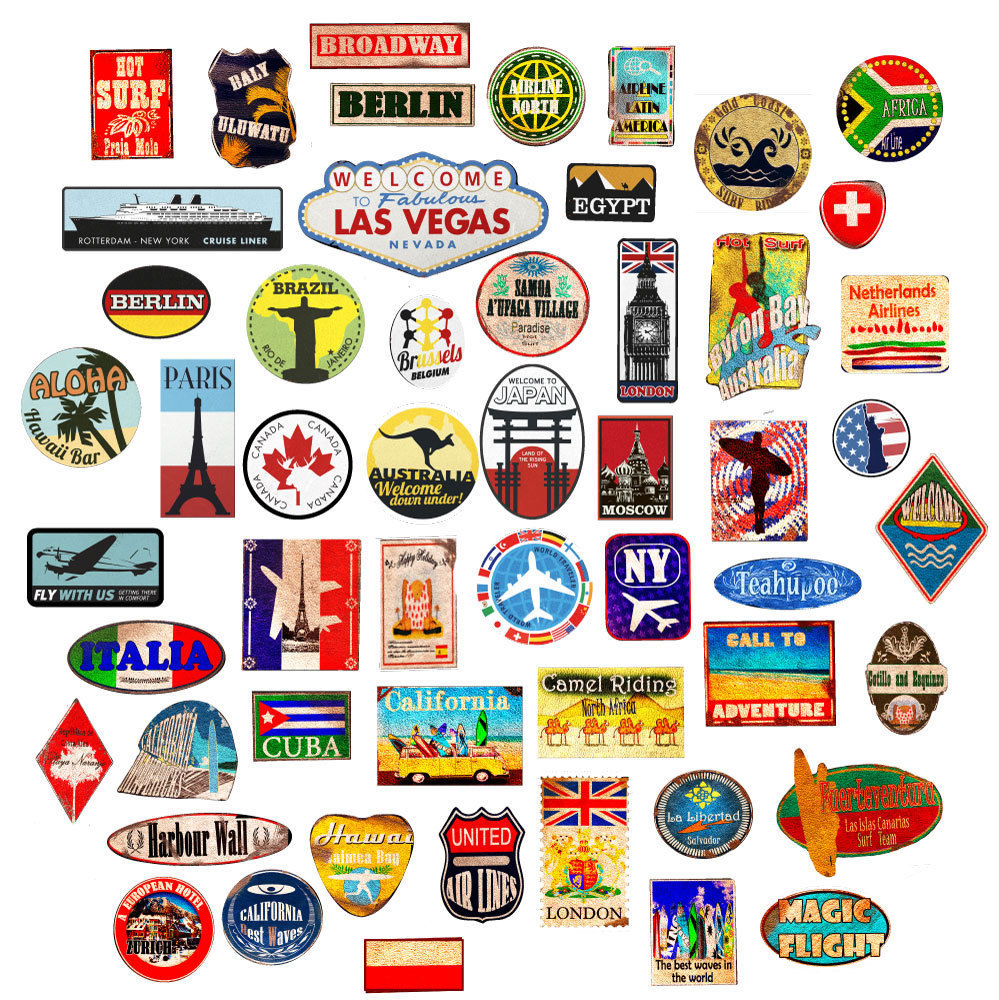 Luggage Stickers Suitcase Patches Vintage Travel Labels