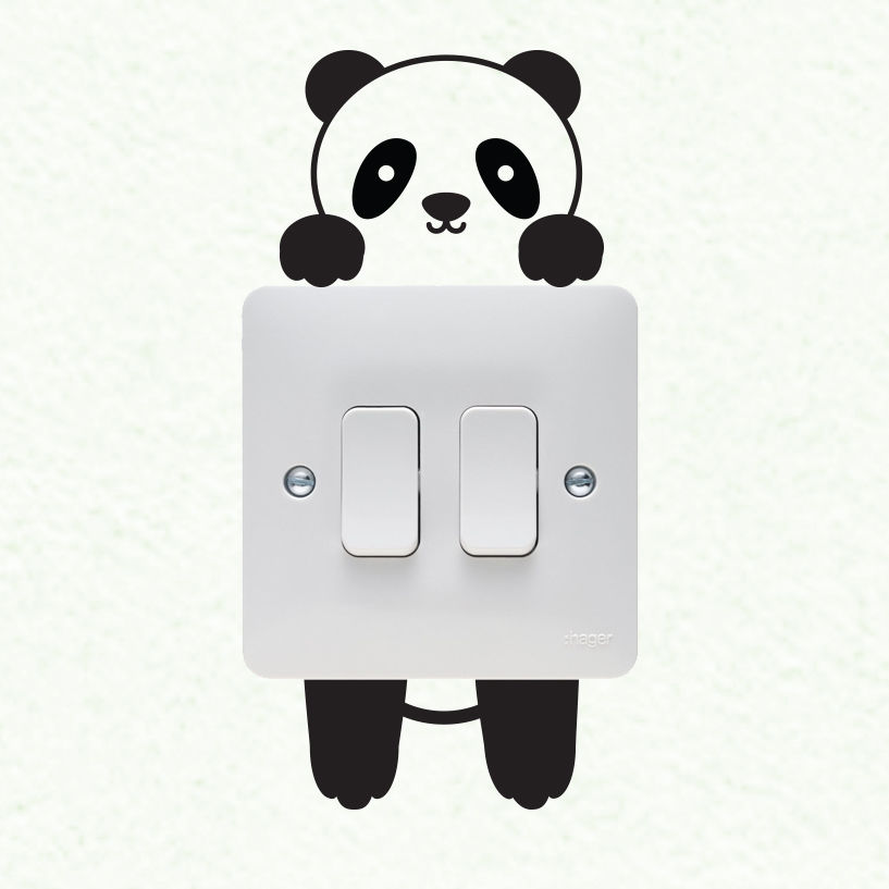 Panda Wall Plate Light Switch Wall Sticker Vinyl Decal