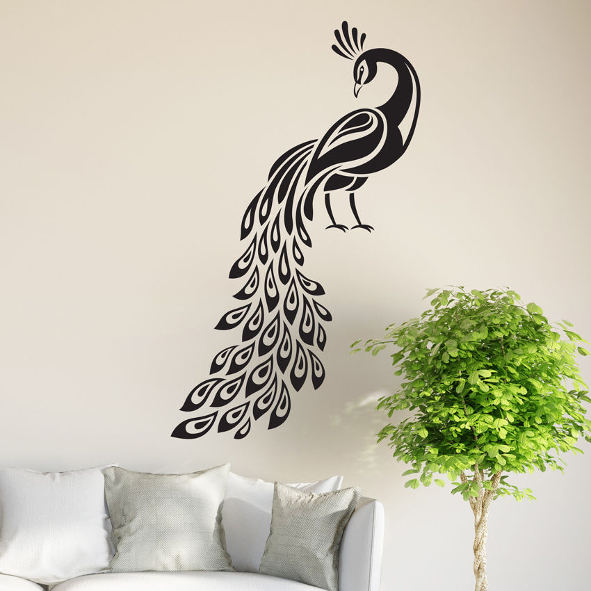 peacock wall sticker birds decal art livingroom vinyl mural graphics