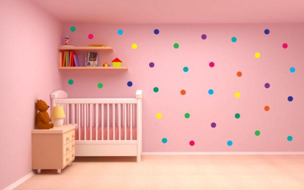 Polka-Dot-Wall-Stickers-Decal-Childs-Kid-Vinyl-Art-home-Decor-spots-Mural-100pcs-263111703033