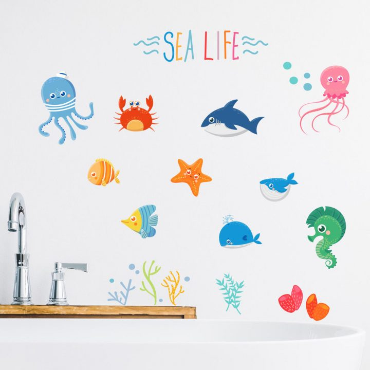 Sealife-Fishes-Bathroom-Wall-Stickers-Kids-Decals-Cartoon-Octopus-Games-pets-253741521293