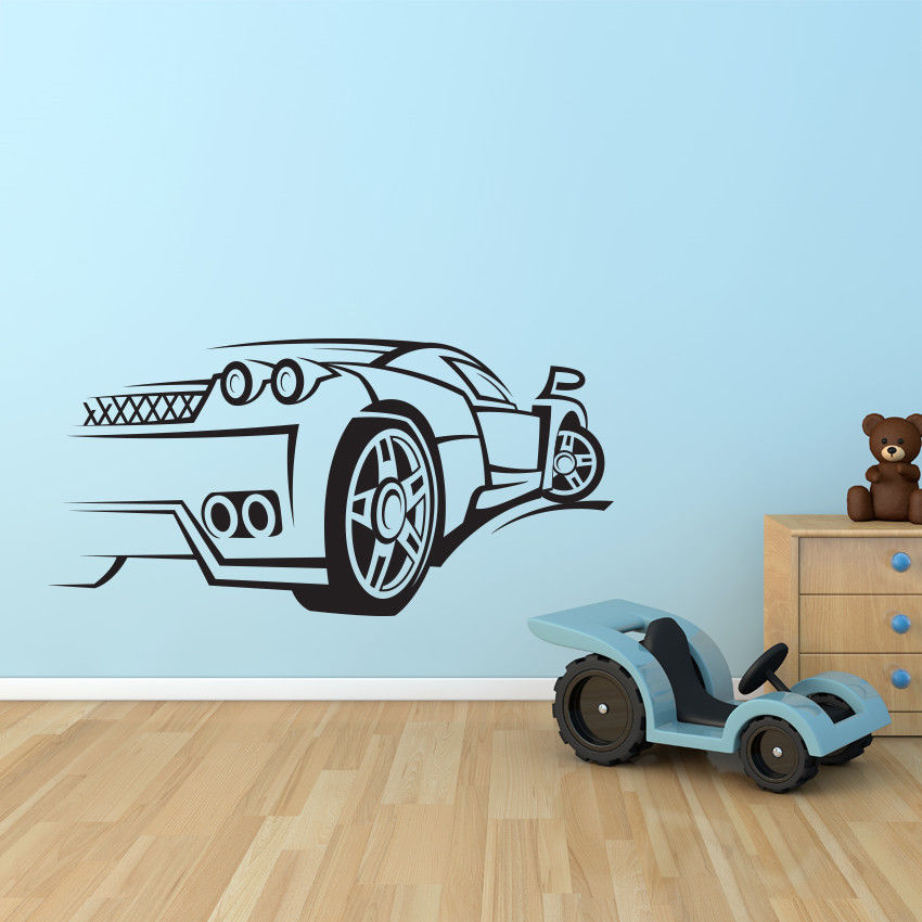 sport car race speed wall decal nursery vinyl sticker mural decor kids