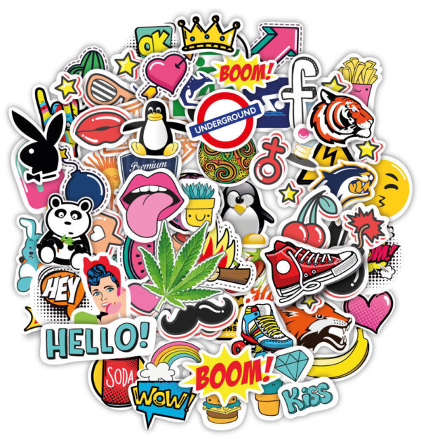 Stickerbomb-100-stickers-graffiti-macbook-iphone-skateboard-vinyl-decals-pop-art-253416990363