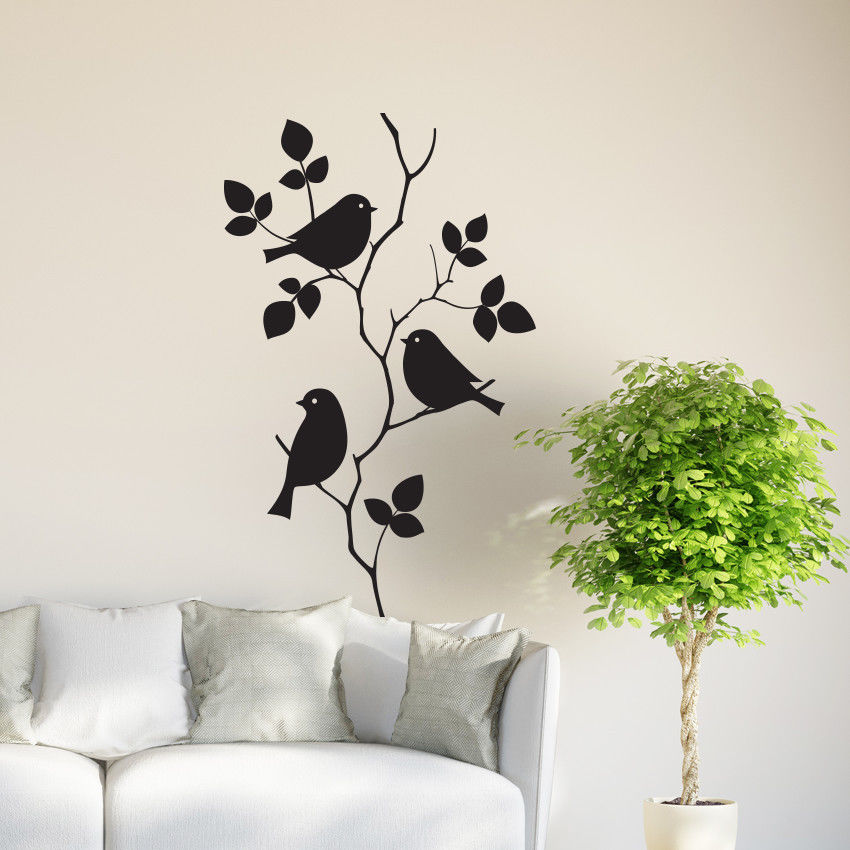 Birds on tree branch wall vinyl sticker decal