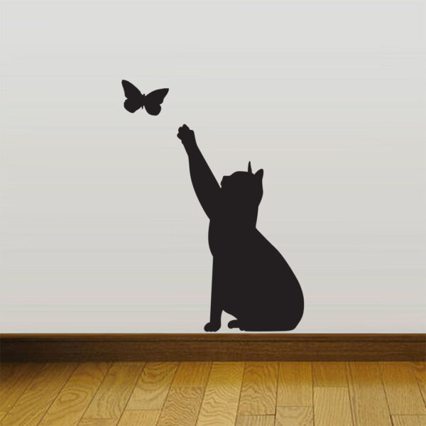 Cat-Catching-butterfly-home-Vinyl-Wall-Sticker-Decor-Decal-Mural-KItchen-Pet-262702190604
