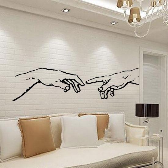 Michelangelo-Adam-hands-wall-sticker-apple-living-room-kicthen-decal-art-vinyl-252433077684