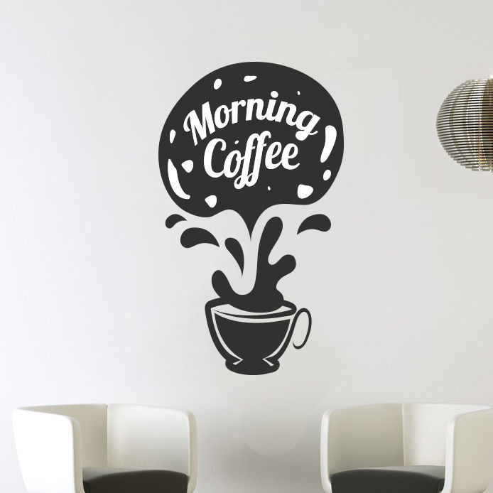 morning coffee cups kitchen wall tea sticker vinyl decal art