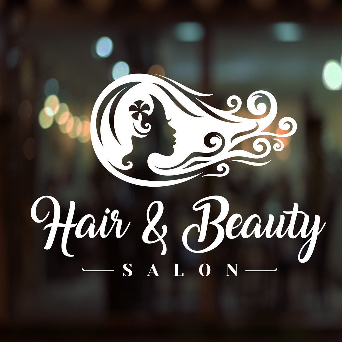 hair beauty salon shop vinyl sign women hairdressers. Black Bedroom Furniture Sets. Home Design Ideas