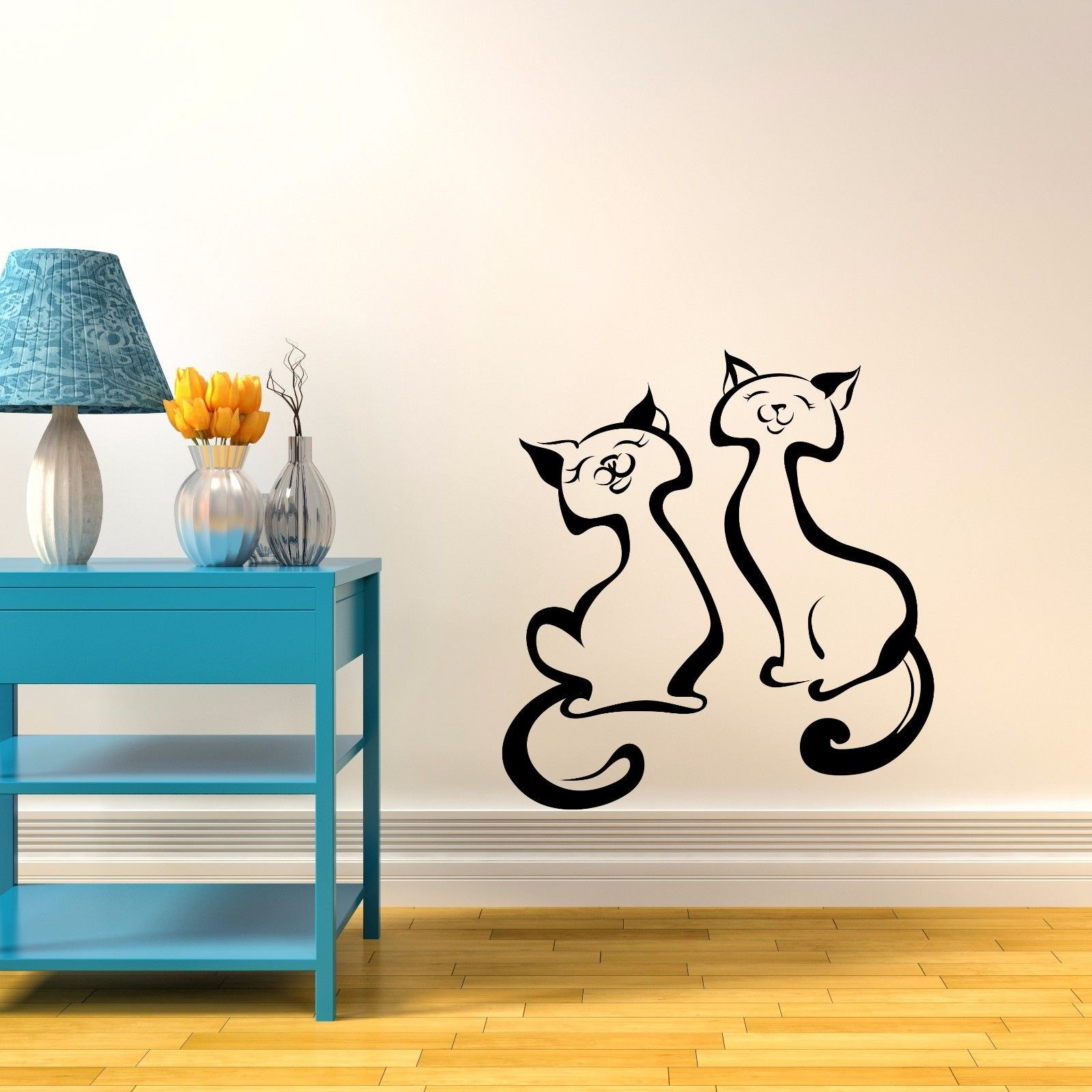 2 cats vinyl wall sticker decor decal livingroom nursery for Mural alternatywy 4