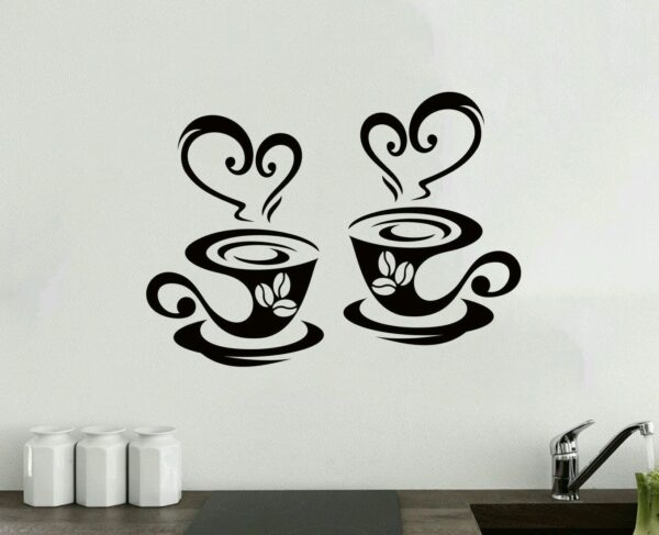 2-Coffee-Cups-Kitchen-Wall-Tea-Sticker-Vinyl-Decal-Art-Restaurant-Pub-Decor-Love-262711834865