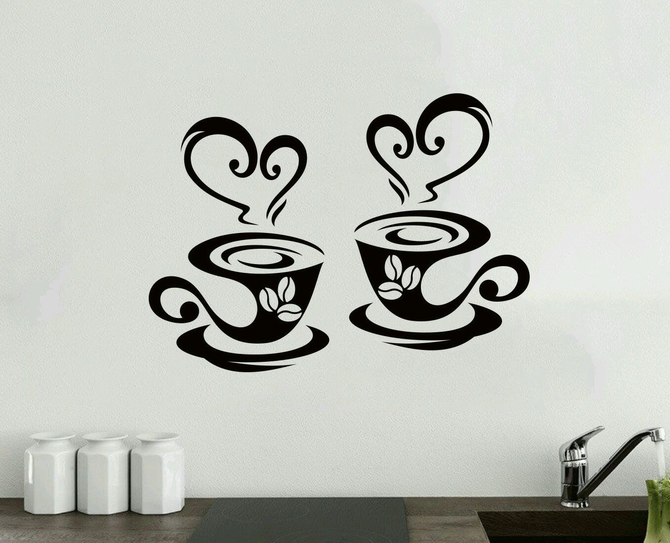 2 Coffee Cups Kitchen Wall Tea Sticker Vinyl Decal Art