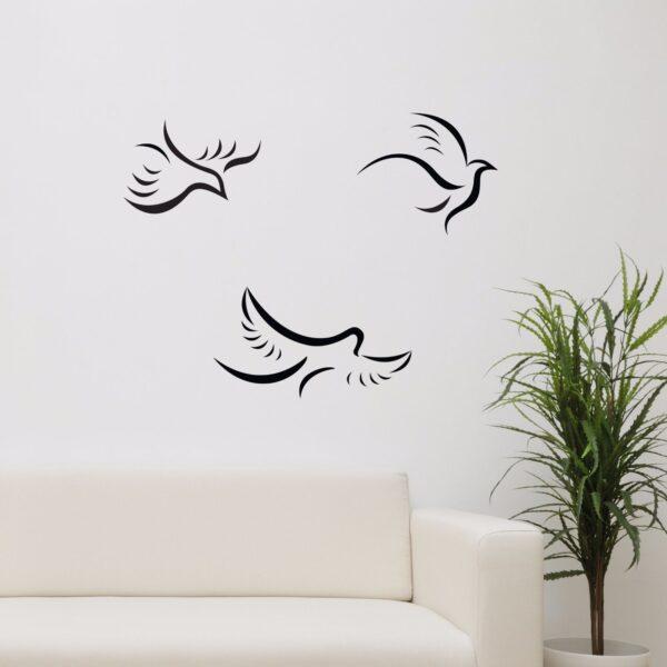 3-Flying-Birds-Vinyl-Wall-Sticker-Decor-Decal-Livingroom-Nursery-Mural-KItchen-252519543005