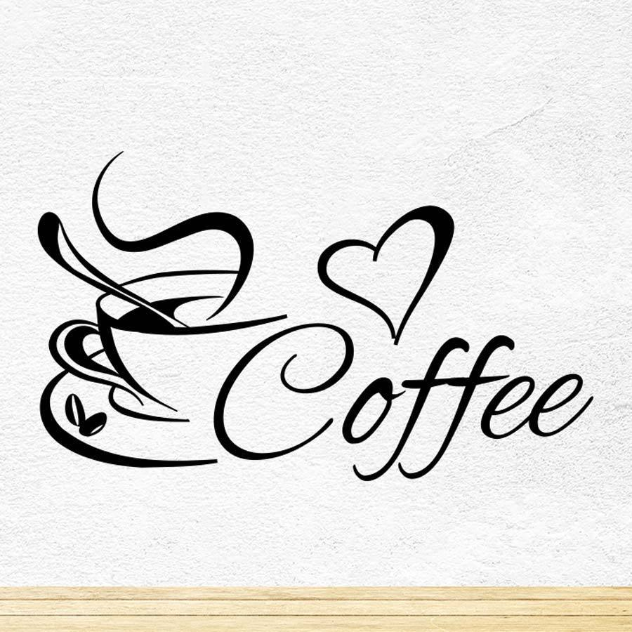 Coffee cup kitchen wall tea sticker vinyl decal art for Tea and coffee wall art