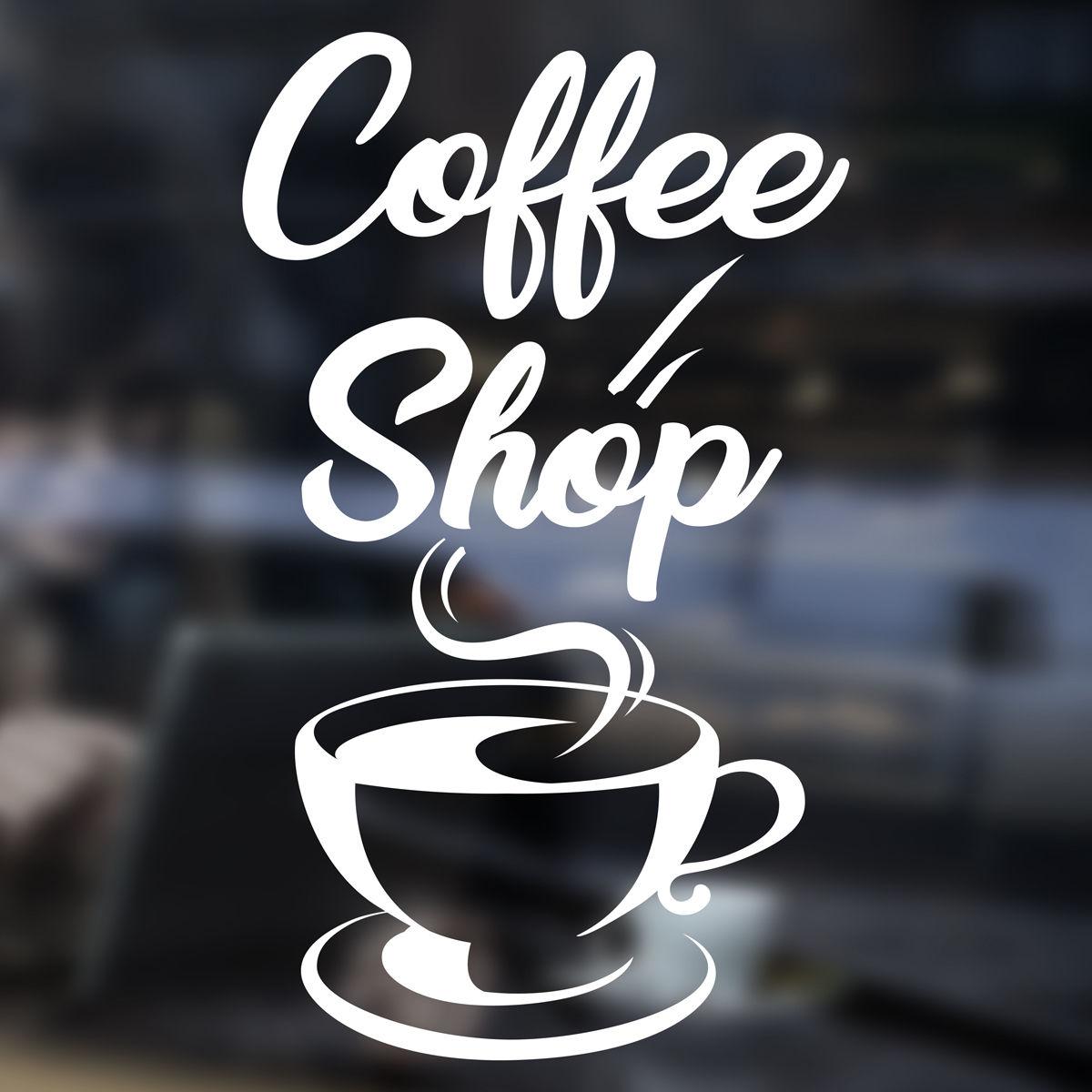 Coffee shop cup sticker restaurant door window vinyl