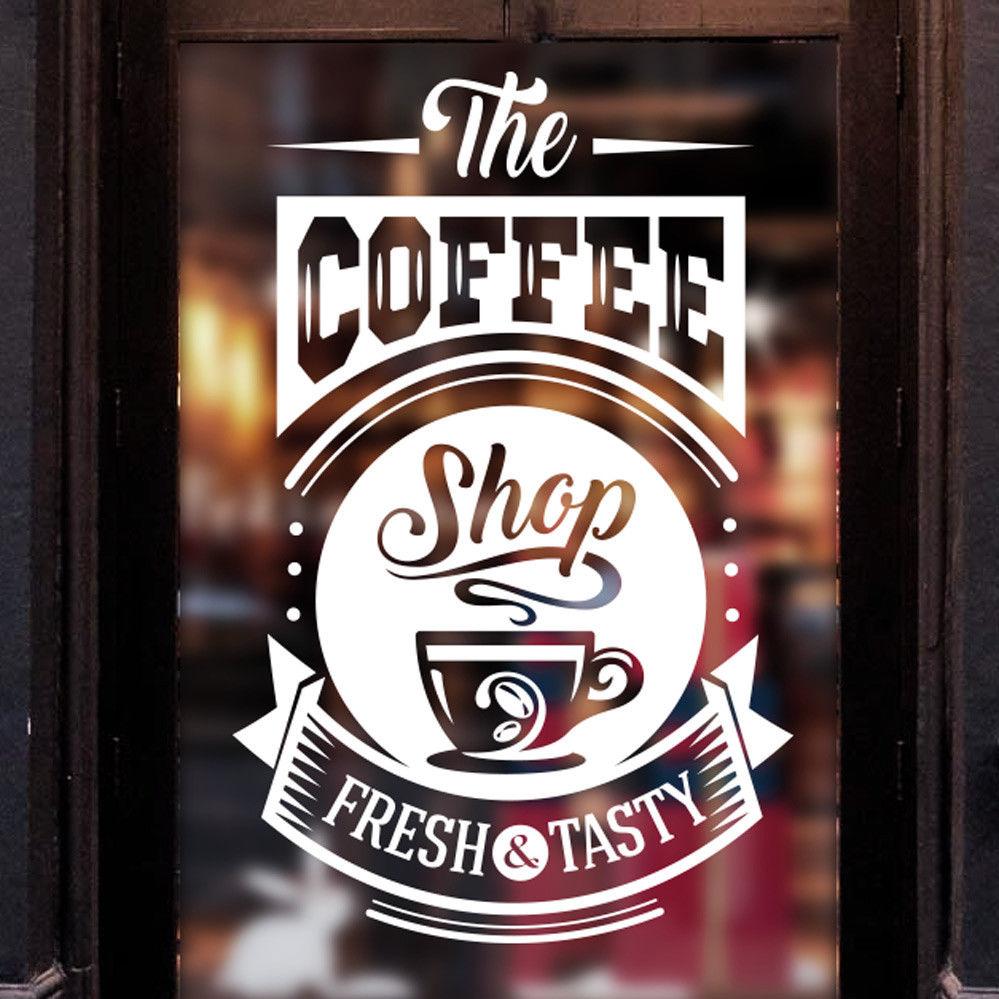 Coffee shop sticker tasty takeaway cup window sign