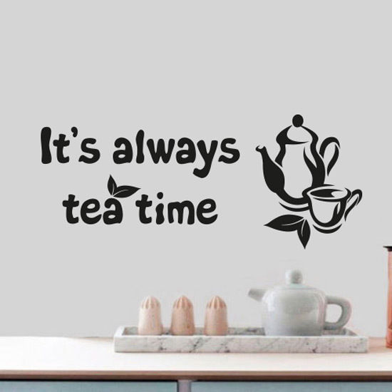 Tea Time Quote Home Wall Cup Decor Vinyl Sticker Decal Mural Art ...