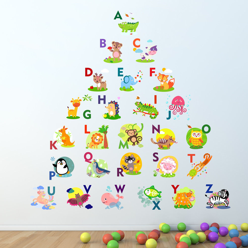 letter wall stickers alphabet wall sticker learning letters room decal 17123