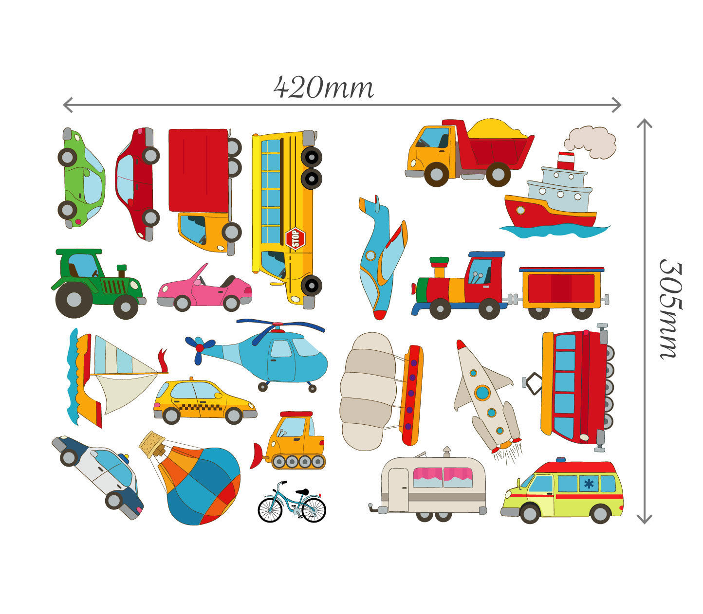 Cars Transport Learning Wall Stickers Kids Decals Cartoon Bus Plane ...