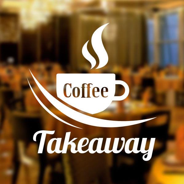 Coffee Takeaway Cafe Shop Vinyl Sticker Window Lettering