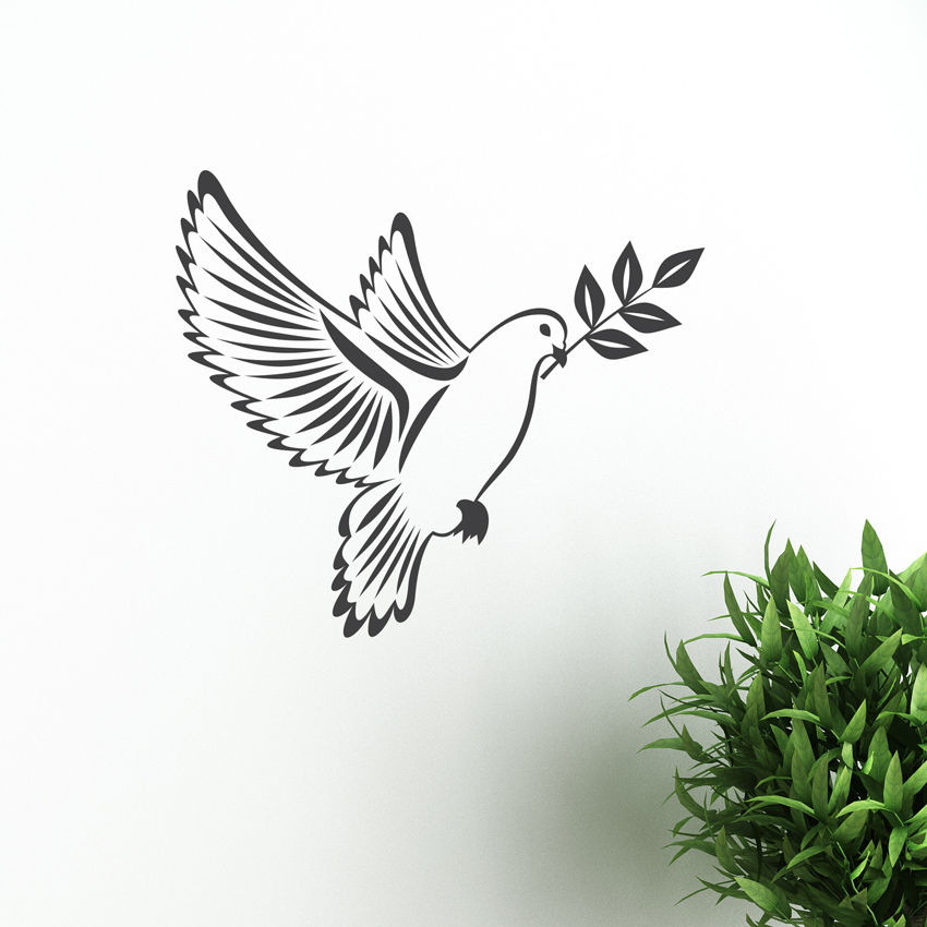 Dove Of Peace With Olive Branch Sticker Vector Image Birds