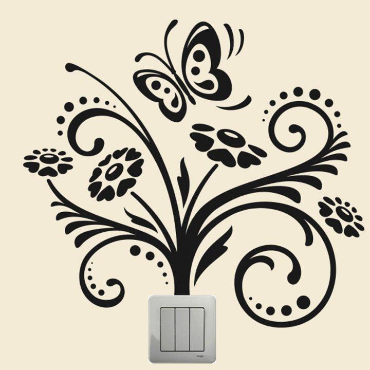 Flower-Butterfly-Wall-plate-light-switch-Wall-Sticker-Vinyl-Decal-home-decor-art-253917749006