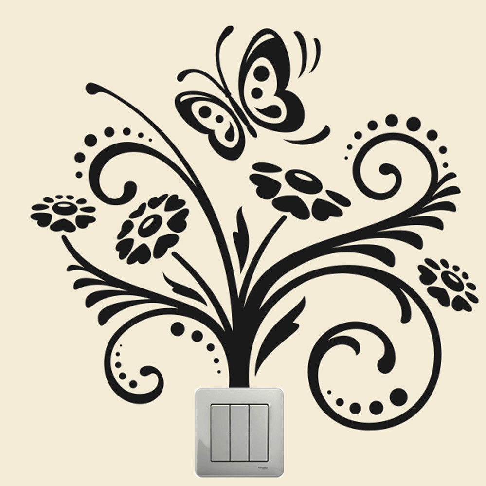 Flower Butterfly Wall Plate Light Switch Wall Sticker Vinyl Decal Home