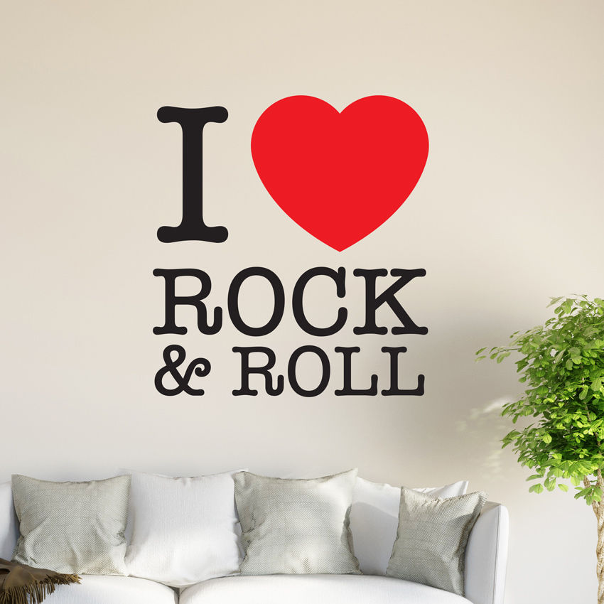 I love rock n roll Wall Graphics Mural Sticker Vinyl Decal ...